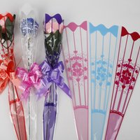 100pcs/lot 9*34cm Gift Packaging Transparent Poly Bag Colorful Heart Pattern Cellophane Bag for Rose Bouquet Flower Packaging