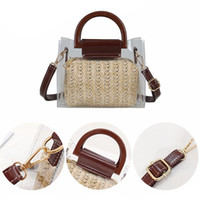 Transparent Straw Bucket Shoulder Bags Fashion Women Weave F...