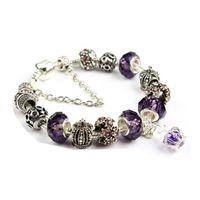 Pulsera de encanto de 20 cm 925 Puertes de plata de plata para las mujeres Royal Crown Pulsera Púrpura Perlas de cristal Joyería DIY