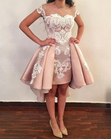 Blush Pink Overskirts Short Cocktail Dresses 2019 New Cap Sl...