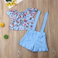 여름 아기 소녀 꽃 의류 세트 스트랩 반바지 어깨 민소매 꽃 T 셔츠 바지 정장 E22603를 2020 키즈 의상 2 조각