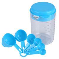 Azul De Plástico De Medição Copo De Cozinha Ferramentas De Medição Conjuntos De Colheres De Cozinha Para Casa Açúcar Açúcar Colheres De Café