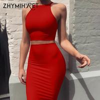 Zhymihret 2018 Seksi Yaz Iki Parçalı Set Elbise Kırpma Kılıf Seti Mini Bandaj Elbise Kolsuz Parti Vestidos Robe Femme Ete