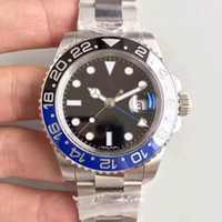 2020 hot sale Mens Watches Men Pepsi GMT Blue Red Ceramic Bezel Automatic Stainless Strap Solid Clssp Sports Self-wind Watches Wristwatches