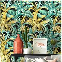 Nordic TV Hintergrund Wandpapierrolle Südostasien tropischen regen-Wald Pflanze Palmblatt Bananenblatt Wohnzimmer Schlafzimmer Veranda Dekor