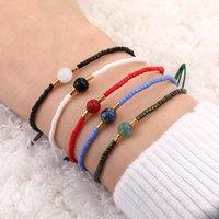 Freundschaftskarte Papier Handgemachte Naturstein Charme Armbänder String Rice Perlen Gewebt Armband Anklet Frauen Handkette Band Schmuck Anweisung