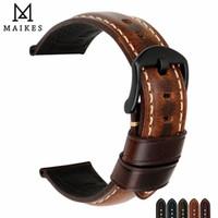 Maikes Montre Accessoires Bande De Montre 20mm 22mm 24mm 26mm Bracelet De Montre En Cuir Cire Huile Spéciale Pour Panerai Iwc Y19070902