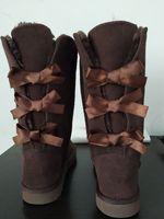 Moda Mulheres de couro genuíno botas altas real Cow Dividir Bailey bowknot Bailey Bow neve Botas Sapatos Tamanho US5-13 Presente de Natal EUR35-44