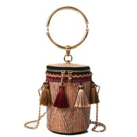 good quality Woven Tassel Barrel Shaped Straw Bags Totes Rin...