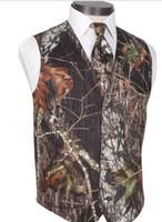 Camo Groom Gilets Pour La Fête De Mariage Meilleur Homme Custom Made Slim Fit Gilets Pour Hommes De La Robe De Mariage De Bal Gilet Plus La Taille (Gilet + Cravate)