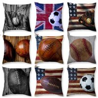الكرة اللينة وسادة القضية البيسبول كرة القدم ويغطي وسادة خمر العلم كيس مخدة كرة القدم مطبوعة أريكة غطاء وسادة نوم الديكور CZYQ5010