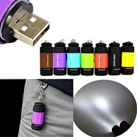 Mini torch led light keychain usb chargeable colorful LED Fl...