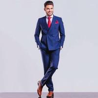 Coutume bleu marine costumes de mariage pour hommes Costume Tuxedo Groom Blazer CROISÉ Costumes Peaked 2 Piece Lapel Terno Slim Fit1