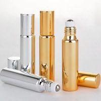 10ML Noir Or Argent UV verre vide rechargées Bouteilles de parfum avec bille en métal Huile essentielle Cosmétiques Bouteilles