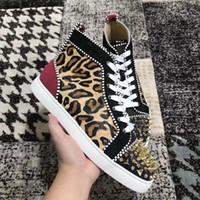 Leopardo couro pik pik spikes fundo vermelho homens sapatilhas designer de luxo ao ar livre casual caminhando flats barato calçado com caixa