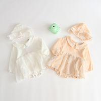 Baby girl roupas romper 100% algodão Pet Pan Collar Cores Sólidas Manga Comprida Cor Sólida romper Chapéu menina Infantil Primavera Queda Romper