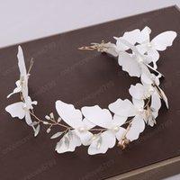 Урожай ручного цветок сладкой Белой бабочка повязка Garland для женщин Свадебного Hairband Свадебных аксессуаров для волос