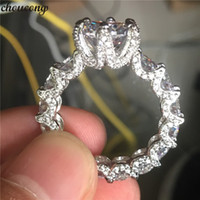 choucong Elegant Flower Ring 925 sterling Silver Claw set 3c...