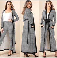 2019 Women Casual Two Pieces Sets Long Sleeve Plaid 1 pant+1 coat Sexy Club Outfits