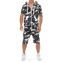 Manica corta casuale Tuta tuta di estate degli uomini con cappuccio Felpa uomo Tuta Moda Camo Pantaloni corti pagliaccetto