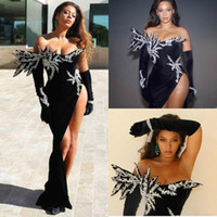 Neue schwarze Meerjungfrau Abendkleider Langarm Spitze Appliqued Pailletten Samt Prom Dress Plus Size Formale Parteikleid Robe de Soiree