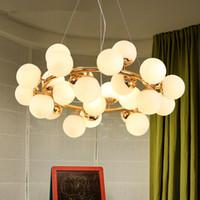 램프 전등 설비 Lutre 조명 매달려 북유럽 매직 콩 샹들리에 우유 화이트 유리 볼 펜던트 램프 거실 침실