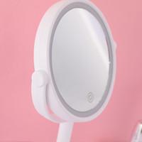 건전지 또는 USB 케이블 터치 센서 LED 메이크업 거울에 의해 구동 5 배 돋보기 LED 라이트와 팬 이중 3 IN 1 LED 팬 거울