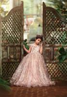 New Rose or pailleté robes fille fleur pour les mariages dentelle Paillettes Bow dos ouvert manches courtes filles Pageant robe enfants Communion Robes