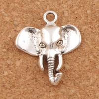 Orecchini a forma di pendenti in argento con pendente a forma di testa di elefante