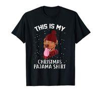 Bu benim Noel Pijama Pitbull Köpek Tişörtü-Erkek Tişört-Black