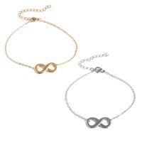 NUEVO Pulsera de la cadena de la cadena de 8 enchufes de oro de oro de oro para mujer Símbolo infinito de la moda Pulseras de acero inoxidable Personalidad Partido Joyería Regalo