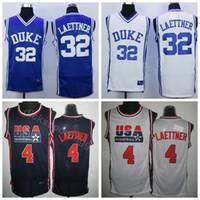 College 1992 USA Team One 4 Christian Laettner Jersey 32 Men College Basketball Duke Blue Devils Maglie Blu White Away Colore della squadra