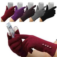 새로운 패션 여자 겨울 4 개 버튼 터치 스크린 장갑 야외 스포츠 따뜻한 장갑 장갑 장갑 캐시미어 장갑 T589