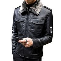 Haute qualité Veste en cuir pour hommes 2018 Véritable original Casual Col Punk fourrure moto Homme Hiver chaud Pilot manteau de veste