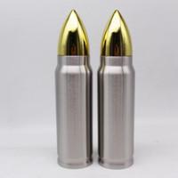 Forma de la bala termo 500ml Copa de aislamiento de acero inoxidable de vacío botella de agua militar Copa del misil taza LJJA3201