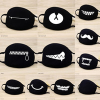 1 Máscaras Pcs algodão manter quente engraçado dos desenhos animados Patten face Boca Máscara Unisex Banquet Partido Boca Muffle Respirador Preto 12 Estilo