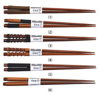 Kaymayı önleyici Ahşap Chopsticks Japon tarzı Doğal El Yapımı Chopsticks Dize Yuvarlak Çin bulaşığı 6 Stiller Dize Wrap Chopsticks