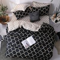 Роскошный комплект постельных принадлежностей супер Король пододеяльник наборы 3шт мрамор одна ласточка Королева размер черный Утешитель постельное белье полоса T200409