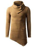 envmenst أعلى أزياء العلامة التجارية السلاحف الرقبة شارع تي شيرت الرجال الهيب هوب طويلة الأكمام عدم التباين تصميم رجل تيز سليم الحجم