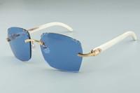 2019 Hot vente récent de style exquis 3524018-7 micro-lentilles de coupe de lunettes de soleil, temples de corne de buffle blanc naturel verres, taille: 18-140mm