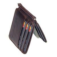Vintage Wallten Herren Leder Marke Kuh-Leder-Kurz Mappen für Männer Kredit-ID-Card Case Männlich Bifold Mens Geldscheinklammer dünnen Purse