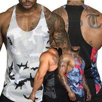 الرجال متعدد الألوان الجيش التمويه العضلات رياضة كمال الاجسام تي شيرت تانك الأعلى الصدرية جديد