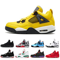 New Original 4s IV 4 Foudre New Bred Hommes Chaussures De Basketball Black Gum Bred Feu Rouge Tonnerre En Plein Air Baskets Athlétique Sports Sneakers