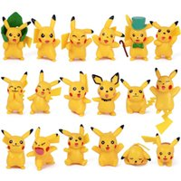 Best-seller 18pc / lotto Detective Pikachu bambole in pvc Pikachu giocattoli animali cartoon giocattoli manufatti per l'arredamento decorazione migliori regali