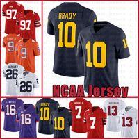 Michigan Wolverines 10 Tom Brady American Football Jersey 10 Tom Brady 97 Nick Bosa 26 Saquone Barkley Jerseys Edvrdrtd