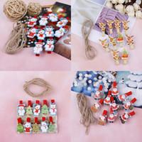Suministros de presentación 10 unids / set Red Christmas Santa Claus Clips de madera Mini ropa de madera Po Pap Pin Pin Pothespin Craft con cuerda