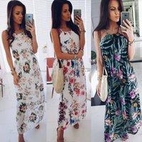 Femmes Maxi Boho Floral Summer Beach Robe de cocktail Halter Harajuku tumblr Vestido jolis vêtements sans manches élégante