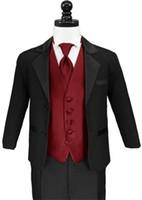 Costumes de communion de 3 pièces pour les garçons deux boutons habillement formel occasion de garçon de revers noir encoche