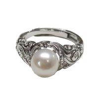 1шт твердого стерлингового серебра кольцо настройки, роскошный старинный кольцо крепежное, кольцо пустой, без жемчуга, ювелирные изделия DIY, подарок DIY
