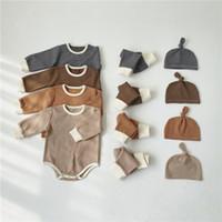 INS CAÍDO PARA NIÑOS NIÑOS NIÑOS NIÑOS MUCHACHAS Sistemas de ropa Pijamas Trajes de manga larga Tshirts + Pantalones Sombreros 3pieces Outfits